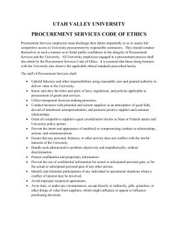 UTAH VALLEY UNIVERSITY PROCUREMENT SERVICES CODE OF ETHICS