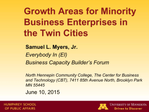 """Growth Areas for Minority Business Enterprise in the Twin Cities"""