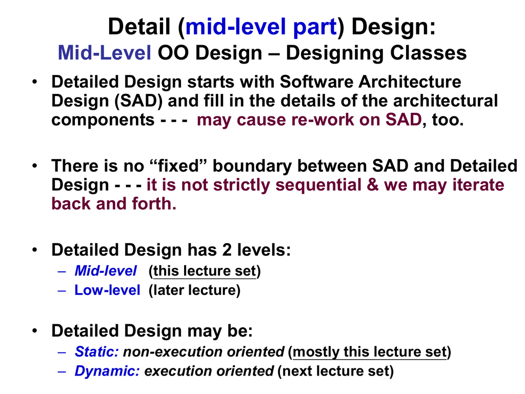 Software Mid Level Design Static Class Model Chapter 11