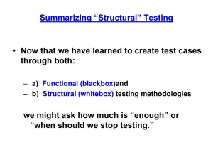 Summarizing Structural Testing (chapter 11)