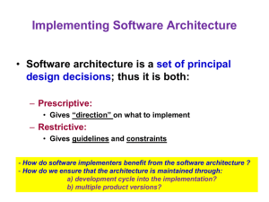 Implementing the Architecture (chap. 9)