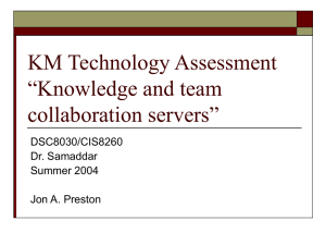 "KM Technology Assessment ""Knowledge and team collaboration servers"""