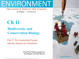 Ch. 11 Biodiversity and Conservation Biology