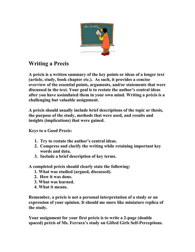 how to write a good precis
