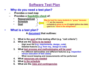Test Plan (Not in Text) -- this is moved from earlier slot