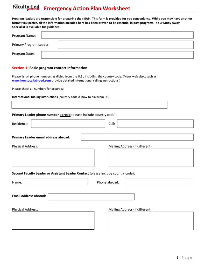 Emergency Action Plan Worksheet