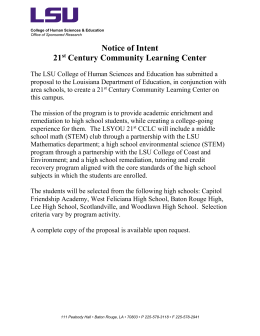 Notice of Intent 21 Century Community Learning Center