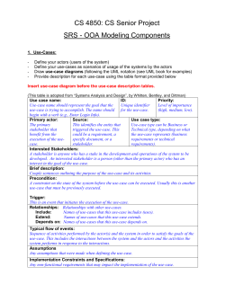 CS 4850: CS Senior Project SRS - OOA Modeling Components