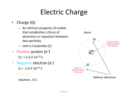 Electric Charge • Charge (Q)