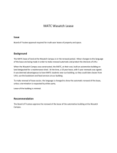 MATC Wasatch Lease Issue  Background
