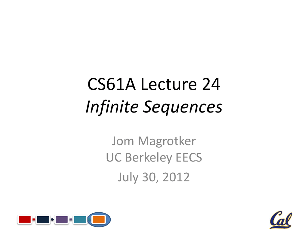 CS61A Lecture 24 Infinite Sequences Jom Magrotker UC