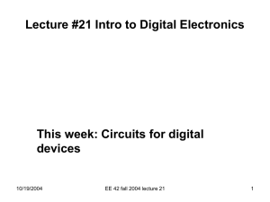 Lecture #21 Intro to Digital Electronics This week: Circuits for digital devices 10/19/2004