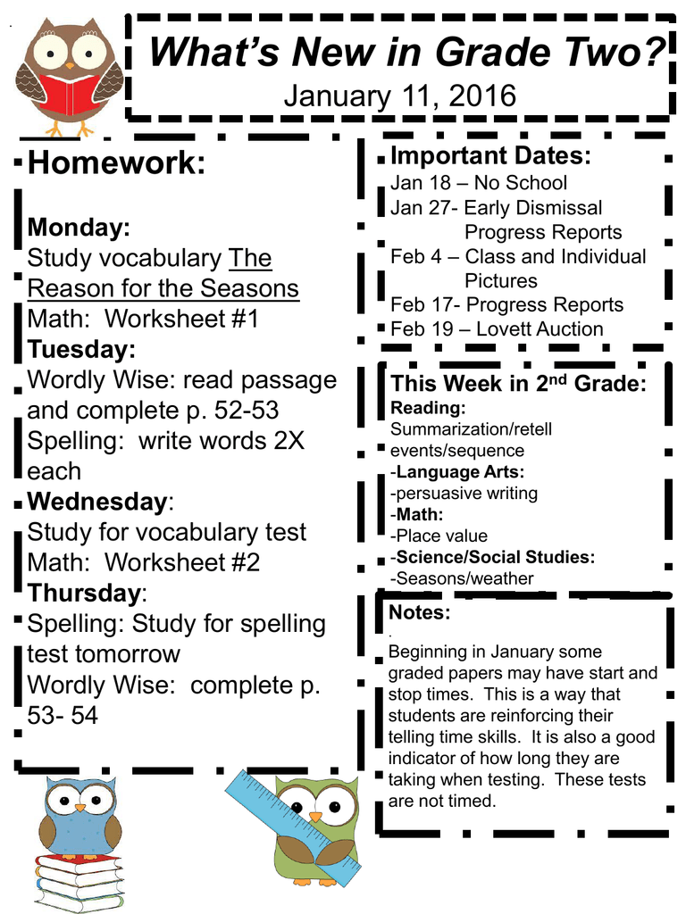 Important New Study Of Homework >> What S New In Grade Two Homework January 11 2016 Important Dates