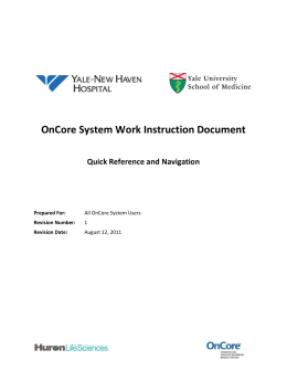 Yale Quick Reference and Navigation Document 2011-08-12