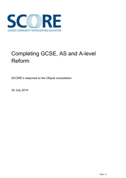 Response to the Ofqual consultation on Completing GCSE, AS and A-Level reform
