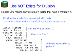 Use NOT Exists for Division Find sailors who've reserved all boats