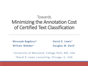 Minimizing the Annotation Cost of Certified Text Classification Towards
