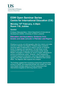 ESW Open Seminar Series  Centre for International Education (CIE) Monday 15
