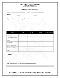Possible Retention Form
