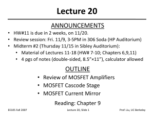 Lecture 20 ANNOUNCEMENTS