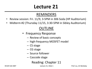 Lecture 21 REMINDERS