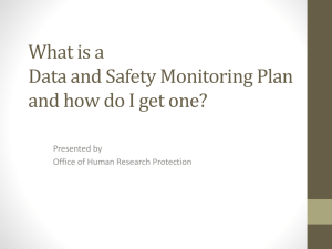 Data Safety Monitoring Plan
