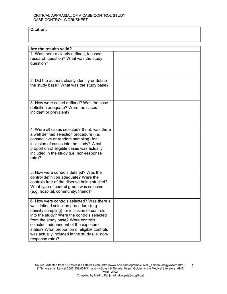 Case-Control Worksheet