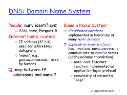 DNS: Domain Name System People: Domain Name System: Internet hosts, routers: