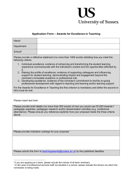 – Awards for Excellence in Teaching Application Form