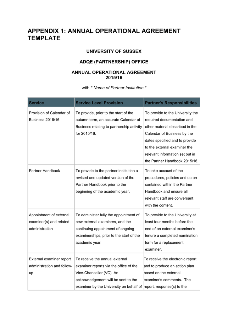 Appendix 1 Annual Operational Agreement Template University Of Sussex