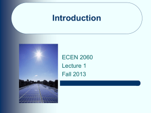 Introduction ECEN 2060 Lecture 1 Fall 2013