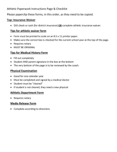 Athletic Paperwork Instructions Page & Checklist