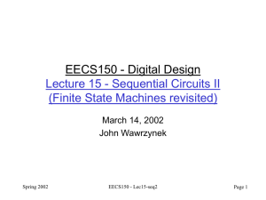 EECS150 - Digital Design Lecture 15 - Sequential Circuits II