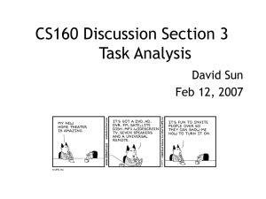 CS160 Discussion Section 3 Task Analysis David Sun Feb 12, 2007
