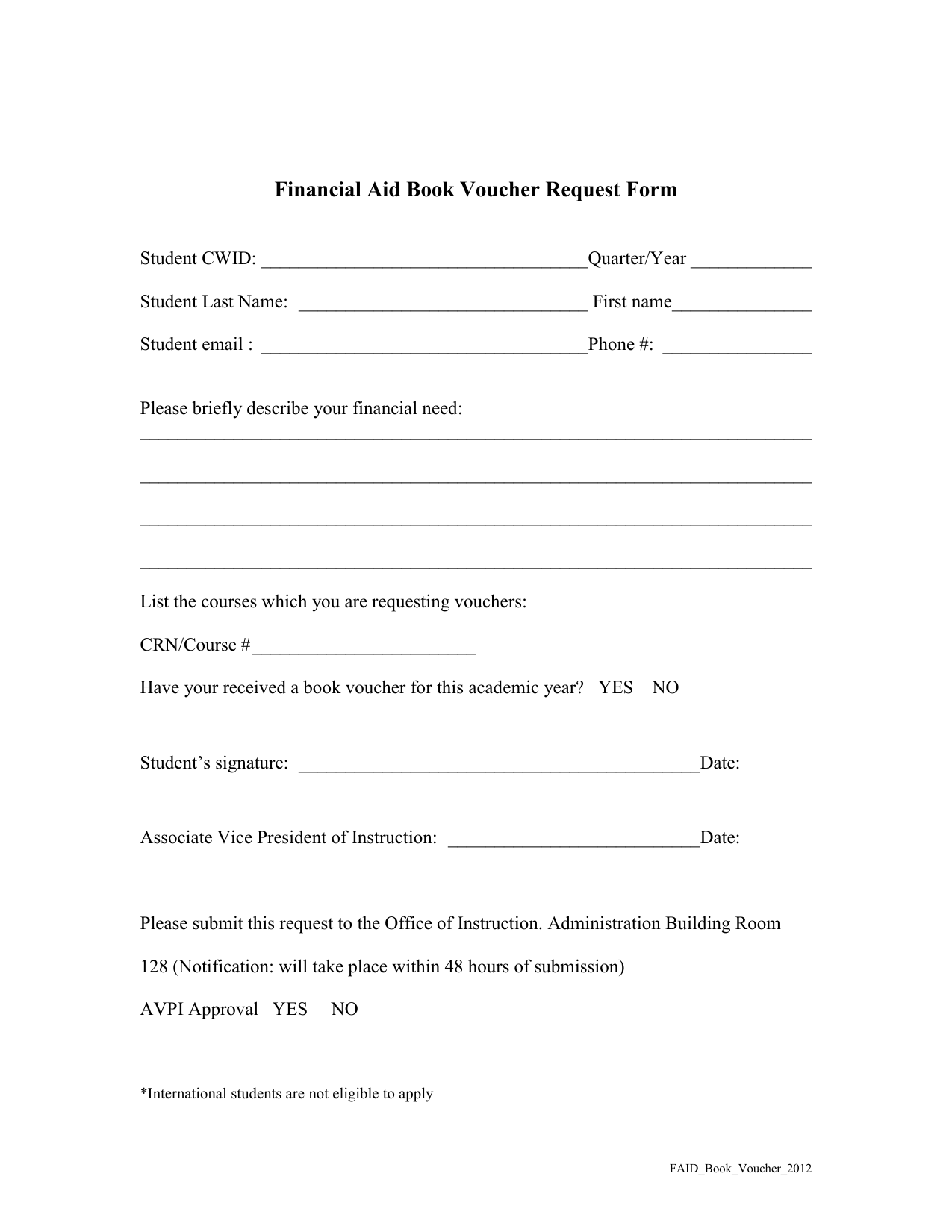 what is a financial aid book voucher