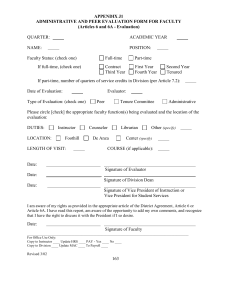 APPENDIX J1 ADMINISTRATIVE AND PEER EVALUATION FORM FOR FACULTY