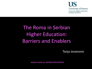 The Roma in Serbian Higher Education: Barriers and enablers