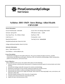 PimaCommunityCollege Syllabus :BIO 156IN -Intro Biology Allied Health CRN21289
