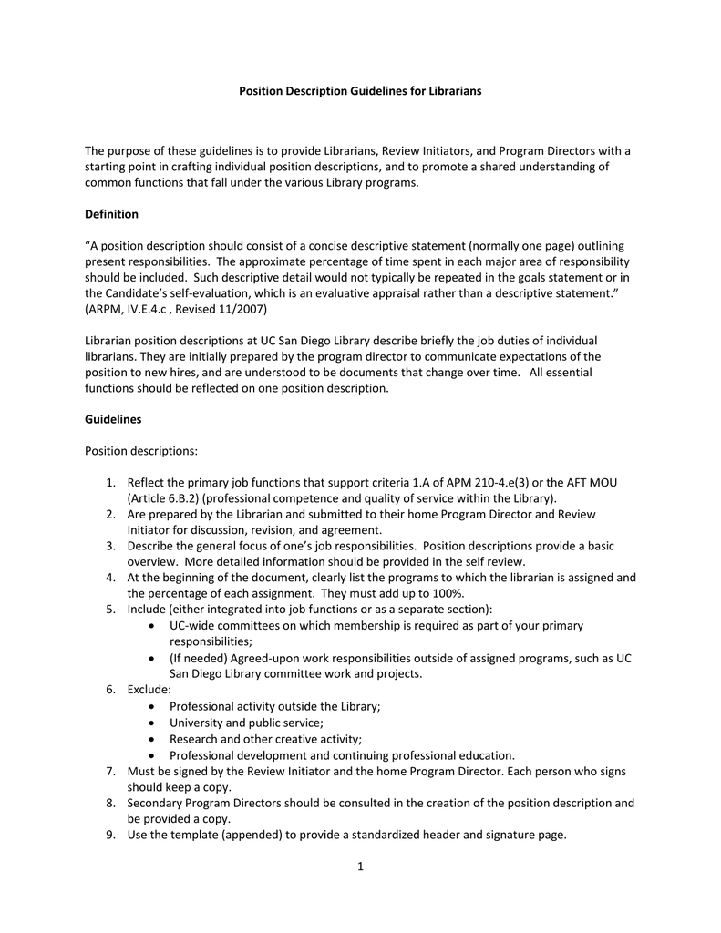 Position Description Guidelines for Librarians