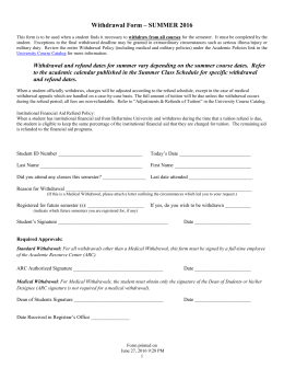 Withdrawal Form for Students in Full-time Programs