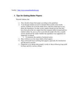 1.  Tips for Getting Better Papers