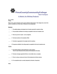 PimaCountyCommunityCollege East Campus A Rubric for Writing Projects