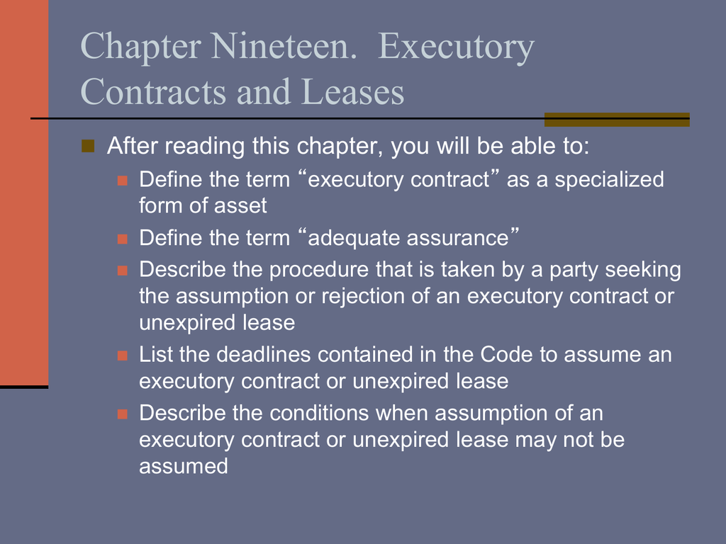 Chapter Nineteen Executory Contracts And Leases