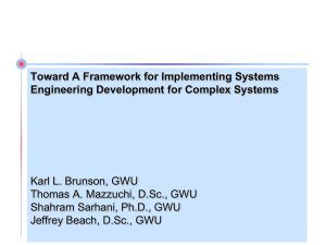 Toward A Framework for Implementing Systems Engineering Development for Complex Systems