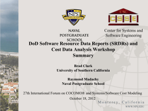 DoD Software Resource Data Reports (SRDRs) and Cost Data Analysis Workshop Summary