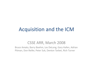 Acquisition and the ICM CSSE ARR, March 2008