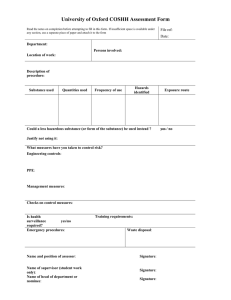 University of Oxford COSHH Assessment Form  .