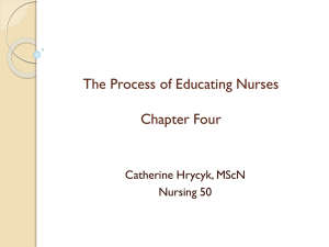 The Process of Educating Nurses Chapter Four Catherine Hrycyk, MScN Nursing 50