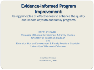 Evidence-Informed Program Improvement: Using principles of effectiveness to enhance the quality and impact of youth and family programs