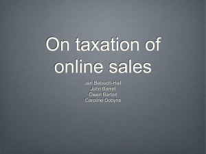 On taxation of online sales Jan Babiuch-Hall John Barret